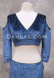 Empress Blue Velvet Mock Wrap Top with Silver Glitter
