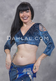 EMPRESS Blue Glitter Velvet Mock Wrap Top by Off The Nile