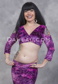 EMPRESS Pink and Purple Glitter Velvet Mock Wrap Top by Off The Nile