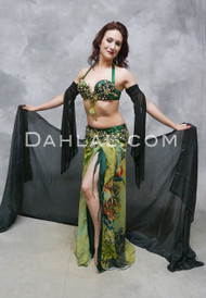 EMERALD ISLE - Green and Gold, by Designer Rising Stars, Egyptian Belly Dance Costume