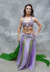 PURPLE HAZE - Lavender, Green and Gold, by Designer Rising Stars, Egyptian Belly Dance Costume