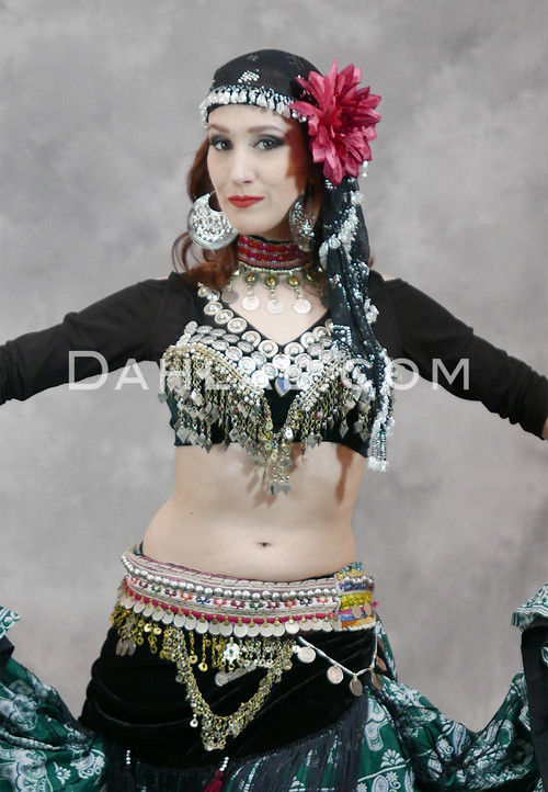 black tribal belly dance choli