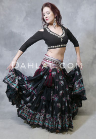 Black block printed Tribal Belly Dance Skirt