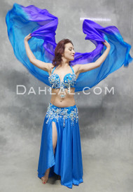 BLUE SKIES - Turquoise and Silver, by Designer Rising Stars, Egyptian Belly Dance Costume