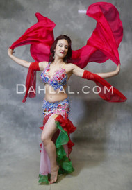 VERY VIVACIOUS - Red, Blue, Green and Silver, by Designer Rising Stars, Egyptian Belly Dance Costume