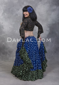 TWO TONE JAIPUR SKIRT for Belly Dance - Royal Blue and Olive