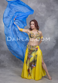 TIMELESS TREASURE - Yellow and Multi-Color, by Designer Rising Stars, Egyptian Belly Dance Costume