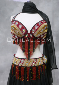 OPULENT EGYPT - Gold, Red and Black Bra and Belt Set,  Bra Size Large D/DD #6