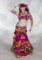 Front View with Fuchsia and Orange Ruched Tiered Sari Skirt