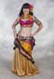 Three Pocket Sari Belt Shown Over Chiffon Double Ruffle Wrap Skirt