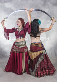 Low High Snap Front Silk Ruffled Skirt for Belly Dance