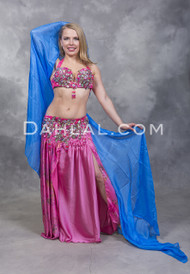 WILD ROSE Egyptian Beaded Costume - Pink, Plum and Fuchsia, Bra Size B-B/C