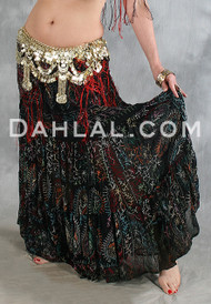 Multi-color Hand Embroidered Tiered Skirt for Belly Dance