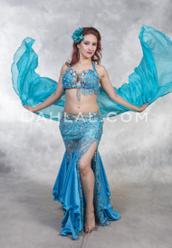 Blue Lace Belly Dance Costume from Egypt