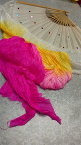 2ND QUALITY 25% OFF Gradient Silk Veil Fans in White, Yellow, Hot Pink