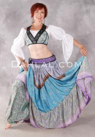 Three Tiered Printed Silk Skirt