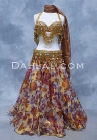 WILD BOUQUET Floral Chiffon Skirt in Wine, Copper, Plum and Gold