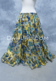 WILD BOUQUET Floral Chiffon Skirt in Royal Blue, Teal and Gold