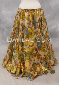 WILD BOUQUET Floral Chiffon Skirt in Turquoise, Green and Gold