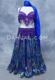 DYNASTY III  Metallic Double Chiffon Skirt in Royal Blue