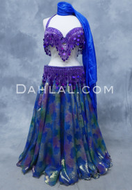 DYNASTY III  Metallic Double Chiffon Skirt in Royal Blue