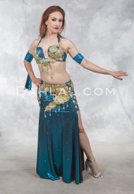 ELYSIAN SHINE - Teal and Gold, by Rising Stars, Egyptian Belly Dance Costume