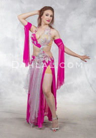 FLIRTY FUCHSIA- Fuchsia, Silver and Nude, by Rising Stars, Egyptian Belly Dance Dress