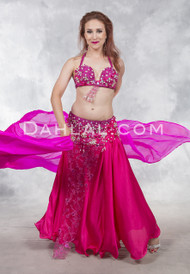 CRUSHWORTHY- Fuchsia and White, by Rising Stars, Egyptian Belly Dance Costume