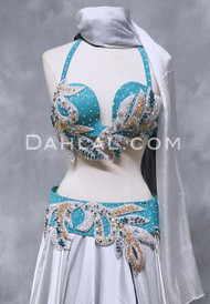 SIREN'S SONG- Bra and Belt Set , Light Turquoise, Silver and Gold in a Bra Size B- B/C, by Designer Rising Stars, Egyptian Belly Dance Costume