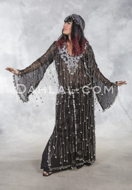 Egyptian ASSUIT BELEDI DRESS -Black and Silver II