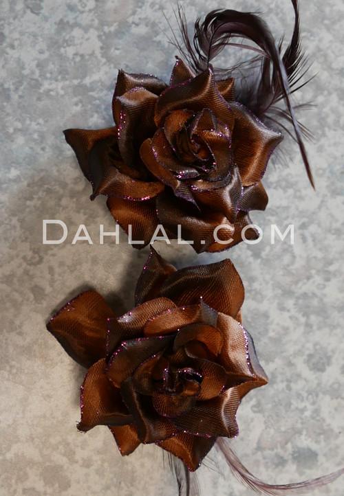 chocolate colored mini hair flowers