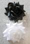 black and white hair flower