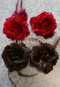 red and brown mini hair flowers