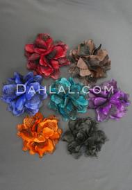Jewel Toned Satin Flower with Black Mesh Petals