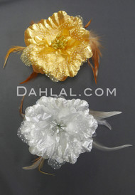 gold and silver hair flower clips
