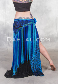 Turquoise and Royal Blue Two Tone Diamond Crocheted Fringe Skirt