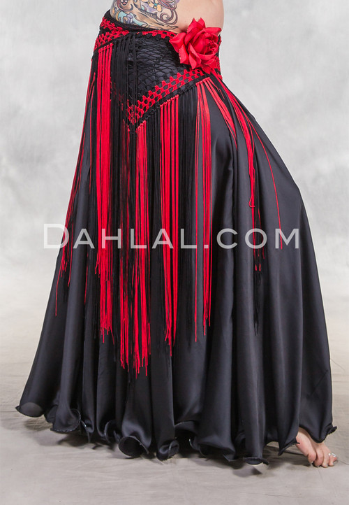 Black and Red Two Tone Diamond Crocheted Fringe Skirt