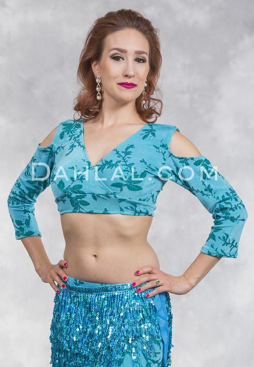 Sapphire Vista Turquoise Cold Shoulder Mock Wrap Top