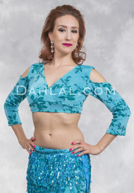 SAPPHIRE VISTA- MINYA Glitter Slinky Mock Wrap Top, by Off The Nile