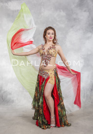 GARNET GLAMOUR- Red, Black and Green, Bra Size C, by Designer Rising Stars, Egyptian Belly Dance Costume