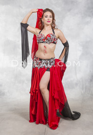 SCARLET LADY- Red, Black and Silver- Bra Size B/C- C- by Designer Rising Stars