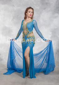 NILE EMPRESS- Turquoise and Gold, Bra Size C #4, by Designer Eman Zaki, Egyptian Bellydance Dress