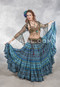 Digital Print Tribal Belly Dance Skirt in Turquoise