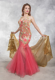 PRETTY IN PINK- Coral, Gold and Silver, by Designer Rising Stars, Egyptian Bellydance Costume