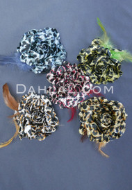 Wild Rose - Animal Print Hair Flower with Feathers