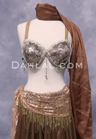 PEACOCK TRIBAL BRA- Mocha and Gold, Bra Size C #4