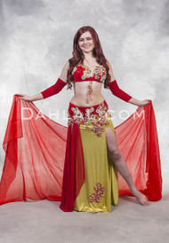 DIAMOND DAHLIA- Red, Metallic Yellow and Silver, Bra Size Large B/C, by Designer Rising Stars