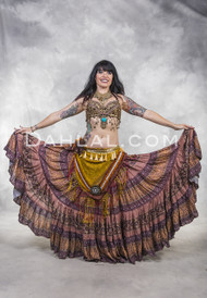 Extra Full Tiered Tribal Skirt- Mauve, Burnt Orange, Yellow, and Wine Print