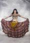 Extra Full Tiered Tribal Skirt- Mauve, Burnt Orange, Yellow, and Wine Print
