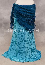 Teal Lace Ruffled Shawl